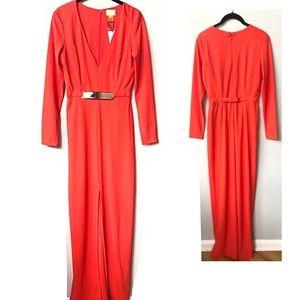 H&M Long Formal Red Dress long Sleeves & Slit